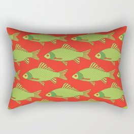 Green and Red Tropical Fish Shoal Pattern Rectangular Pillow
