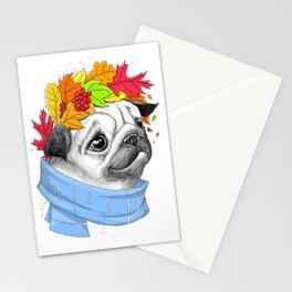 Autumn pug #2 Stationery Cards