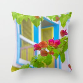 Colored Flowers in Front of Windows House Throw Pillow