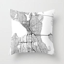 Seattle Map White Throw Pillow