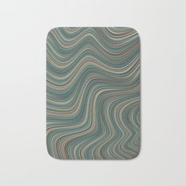 MANITOULIN forest colours of aquamarine green and brown in abstract waves design Bath Mat