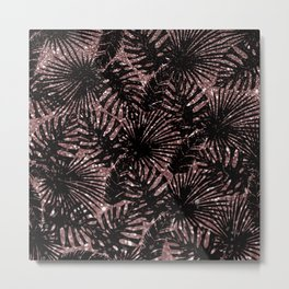 Modern rose gold black glitter swiss cheese plant tropical floral pattern Metal Print