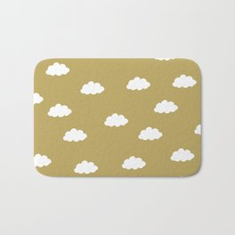 White clouds in green yellow background Bath Mat
