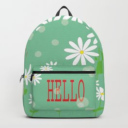 Hello spring greeting card with daisies. Hello Spring vector illustration Backpack