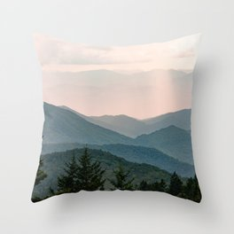 Smoky Mountain Pastel Sunset Throw Pillow