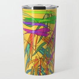 Bamboo Leaves Multycolor on Yellow Board Travel Mug