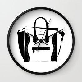 Black and White Luggage Handbag Tote Pattern Wall Clock