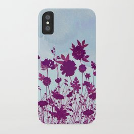 wild little flowers against watercolor sky iPhone Case