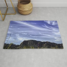 Desert Sky with mountains and Bluebonnets Rug