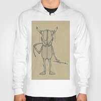 animal skull Hoodies featuring Bull Skull Guy Spirit Animal by Drawn by Lex