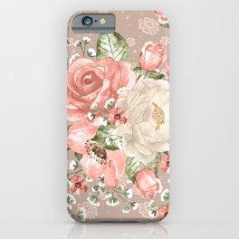 Peach Blush Vintage Watercolor Floral Pattern iPhone Case