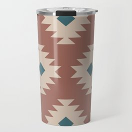 Southwestern Pattern 536 Teal Green and Brown Travel Mug