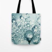 sparkles Tote Bags featuring Droplets & Sparkles by Sharon Johnstone