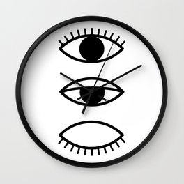 Eye, Eyelashes, Scandinavian, Print, Minimal, Modern, Wall art Wall Clock