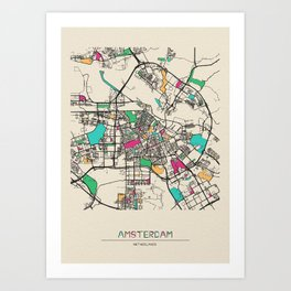 Colorful City Maps: Amsterdam, Netherlands Art Print