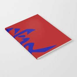 The word LOVE in Japanese Kanji Script - LOVE in an Asian / Oriental style writing. Blue on Red Notebook