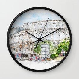 Aquarelle sketch art. The Pula Arena the amphitheatre located in Pula, Croatia Wall Clock