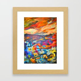 My Village | Colorful Small Mountainy Village Framed Art Print
