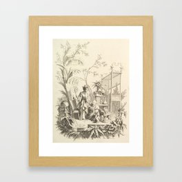 Grisaille Chinoiserie Framed Art Print
