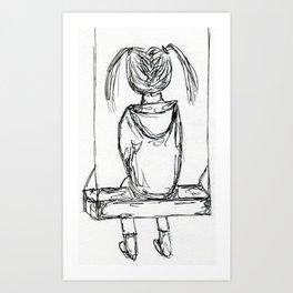 girl on a swing Art Print