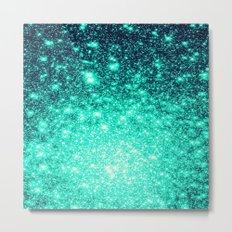 Stars Ombre Cool Aqua & Teal Metal Print