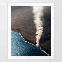 Kamukona molten hot lava stream sprouting into the Pacific Ocean in Hawaii Art Print