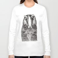badger Long Sleeve T-shirts featuring Badger by Meredith Mackworth-Praed