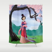 mulan Shower Curtains featuring Mulan by Rousetta