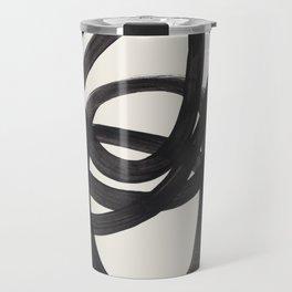 Mid Century Modern Minimalist Abstract Art Brush Strokes Black & White Ink Art Spiral Circles Travel Mug