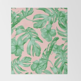 Island Life Coral Pink + Green Throw Blanket