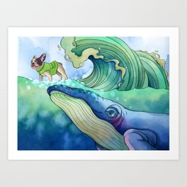 Whale Surfing Art Print