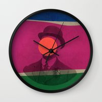 magritte Wall Clocks featuring Magritte by Naomi Vona