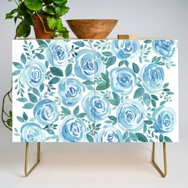 Pale blue roses . Watercolor . Credenza