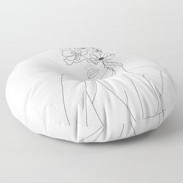 Minimal Line Art Woman with Flowers Floor Pillow