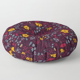 Mustard Yellow, Burgundy & Blue Floral Pattern Floor Pillow