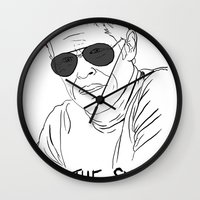 the life aquatic Wall Clocks featuring The Life Aquatic - Klaus by Stewart Chown
