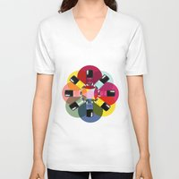 nail polish V-neck T-shirts featuring Designer Nail Polish Print by BeckiBoos