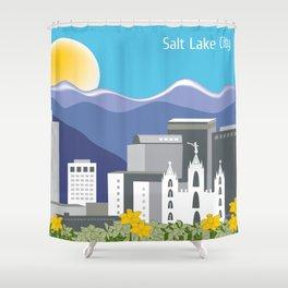 Salt Lake City, Utah - Skyline Illustration by Loose Petals Shower Curtain