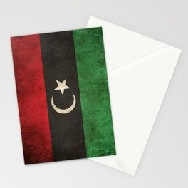 Old and Worn Distressed Vintage Flag of Libya Stationery Cards