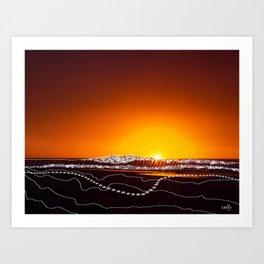 Beach Stroll at Sunrise Art Print