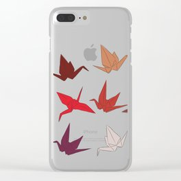 Japanese Origami paper cranes sketch, symbol of happiness, luck and longevity Clear iPhone Case