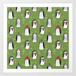 Christmas penguin cute animal pattern winter holiday gifts Art Print