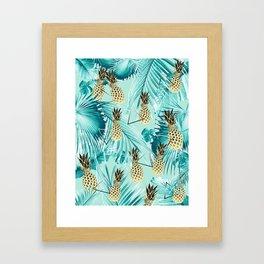 Tropical Pineapple Jungle Geo #3 #tropical #summer #decor #art #society6 Framed Art Print
