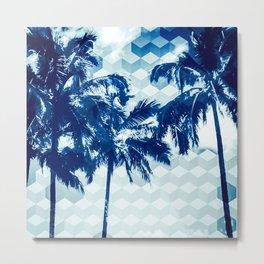 Cubic palm trees - blue Metal Print