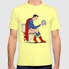 Superhero On Toilet X-LARGE Lemon Mens Fitted Tee