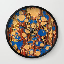 Vintage navy blue yellow orange abstract marble Wall Clock