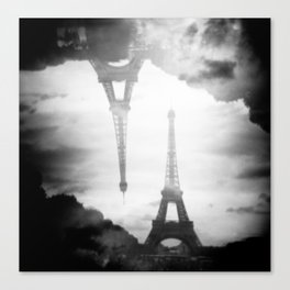 Eiffel Tower Black and White Double Exposure - Paris, France Canvas Print