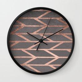 Rose gold chevron stripes geometric pattern on grey cement concrete Wall Clock