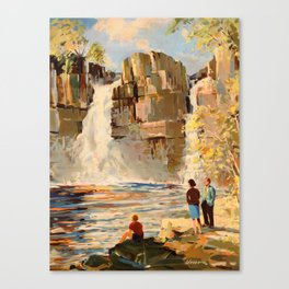 Mid Century Modern Vintage Travel Poster England Landscape Rocky Waterfall Canvas Print