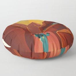 SpaceX Travel Poster: Valles Marineris, Mars Floor Pillow